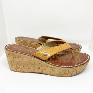 Sam Edelman Shoes - Sam Edelman Romy Crocodile Wedge Flip Flop Sandals